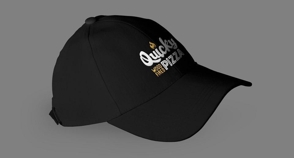 Quicky Pizza Luna Creative Graphic Design San Antonio Hat Design