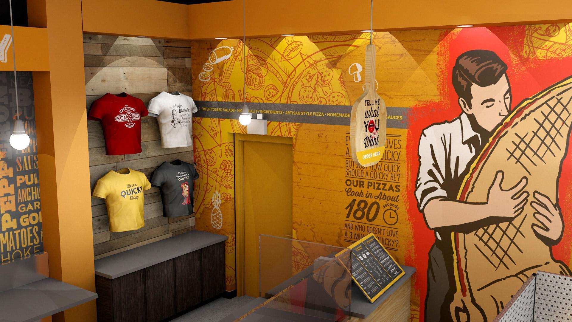 Quicky Pizza Luna Creative Graphic Design San Antonio 3D Design Restaurant