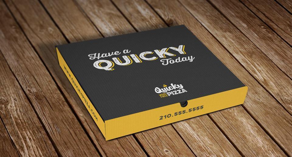 Quicky Pizza Luna Creative Graphic Design San Antonio Pizza Box Design