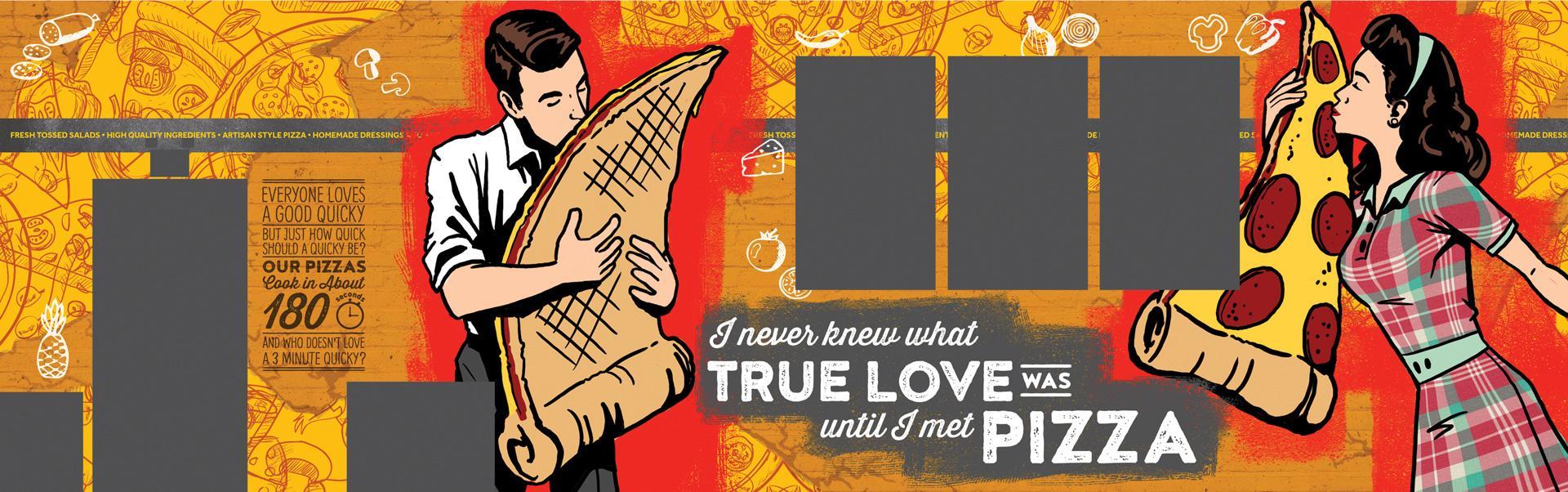 Quicky Pizza Luna Creative Graphic Design San Antonio Graphic Design Wall