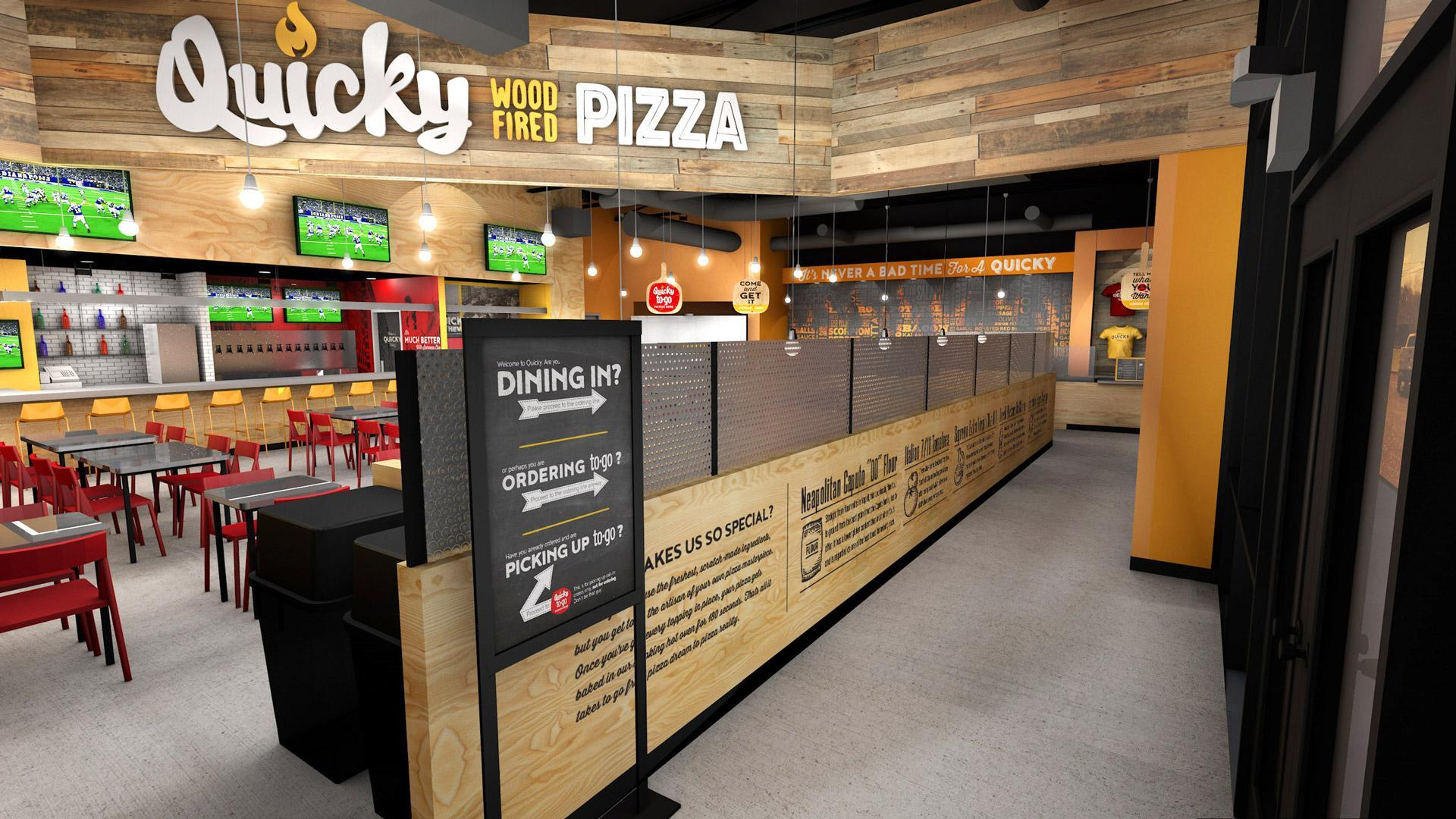 Quicky Pizza Luna Creative Graphic Design San Antonio 3D Design Restaurant