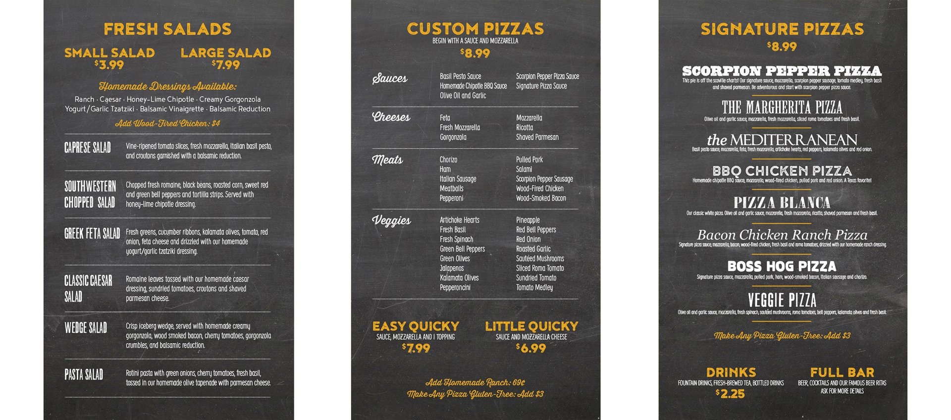 Quicky Pizza Luna Creative Graphic Design San Antonio Menu Design